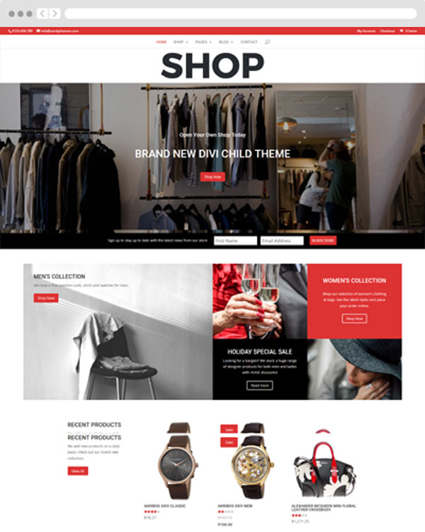 Shop Divi child theme