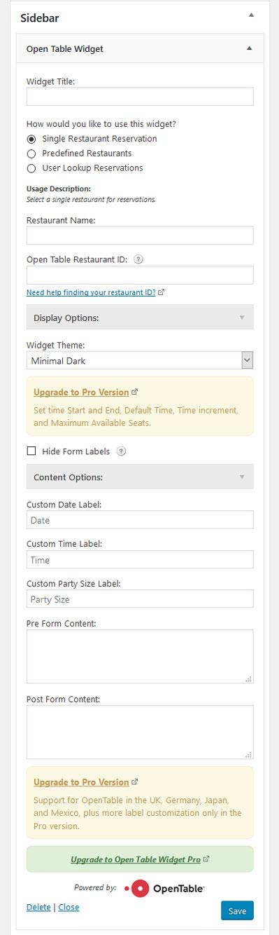 Widget settings